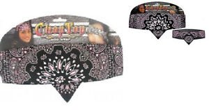 Biker Chop Top Reverse Pink w/Rhinestons Doo Rag , Head Scarf, Wrap, Headband