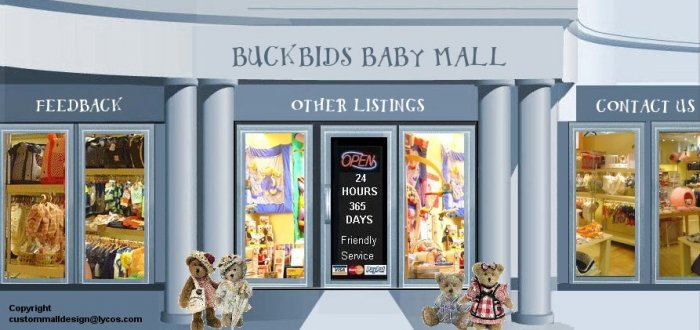Web Site or Auction Template Baby Clothes & Toys Mall Header Logo & Custom Links