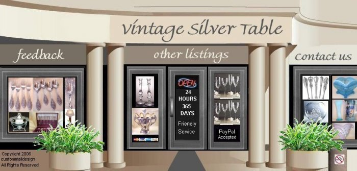 China Dinnerware Silverware Mall Auction Template or Website Web Site Header With Your Custom Links