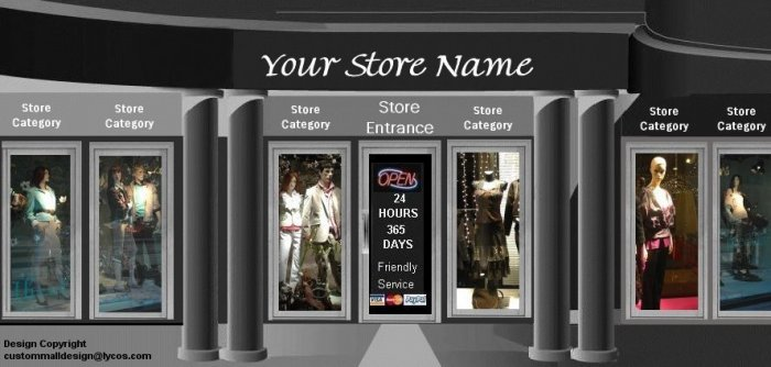 Designer Mens and Womens Clothing Mall Auction Template or Web Site Header Logo Custom Links