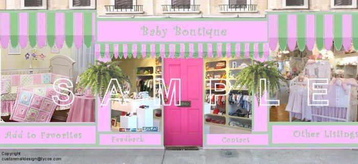 Kids Baby Clothes Auction Template Web Site Header Logo Boutique Your Custom Links