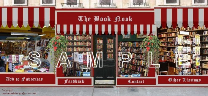 Book Boutique Auction Template or Web Site Header Logo & Custom Links