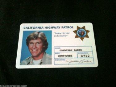 "CHP ""Chip's ""Jon Baker"" Id Card 80'sTv Show NEW"