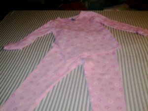 4T- - JUST ONE YEAR - TODDLER GIRL THERMAL PAJAMAS