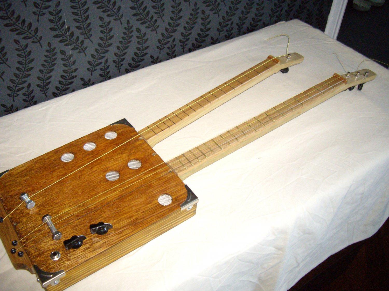 3 string 1 string twin neck cigar box guitar. Black Bedroom Furniture Sets. Home Design Ideas
