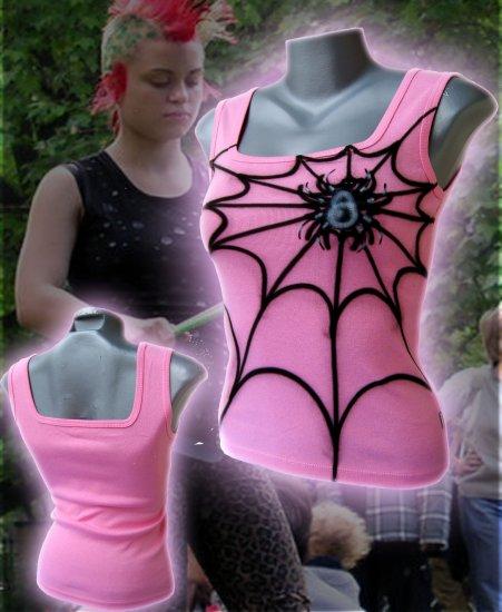 Spiderweb Punk Tank Top Pink