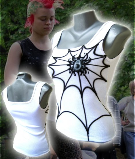 Spiderweb Punk Tank Top White