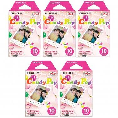 5 Packs Candy Pop FujiFilm Fuji Instax Mini Film, 50 Instant Photos Polaroid 7S 8 25 50S 70 X140