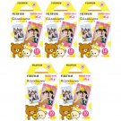 5 Packs Rilakkuma FujiFilm Fuji Instax Mini Film, 50 Photos Polaroid 7S 8 25 70 X232