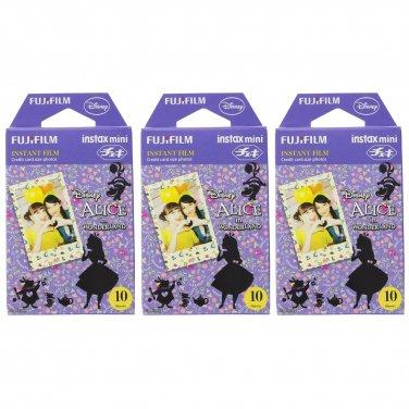 3 Packs Disney Alice in Wonderland FujiFilm Fuji Instax Mini Film, 30 Photos Polaroid 7S 8 70 X234