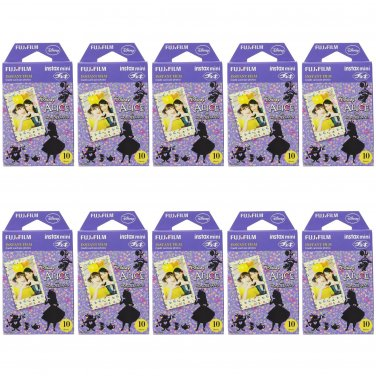 10 Packs Disney Alice in Wonderland FujiFilm Fuji Instax Mini Film, 100 Photos Polaroid 7S 8 70 X234