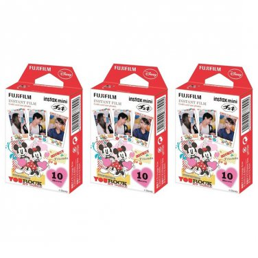 3 Packs Disney Mickey and Friends FujiFilm Fuji Instax Mini Film, 30 Photos Polaroid 7S 8 70 X236