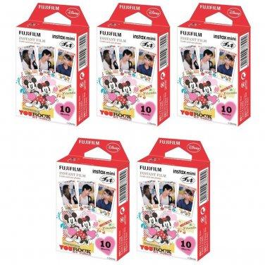 5 Packs Disney Mickey and Friends FujiFilm Fuji Instax Mini Film, 50 Photos Polaroid 7S 8 70 X236