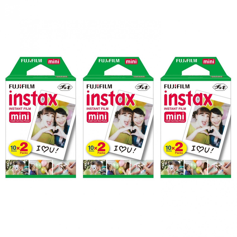 3 Packs FujiFilm Fuji Instax Mini Film, 60 Instant Photos Polaroid 7S 8 25 50S 70 X122