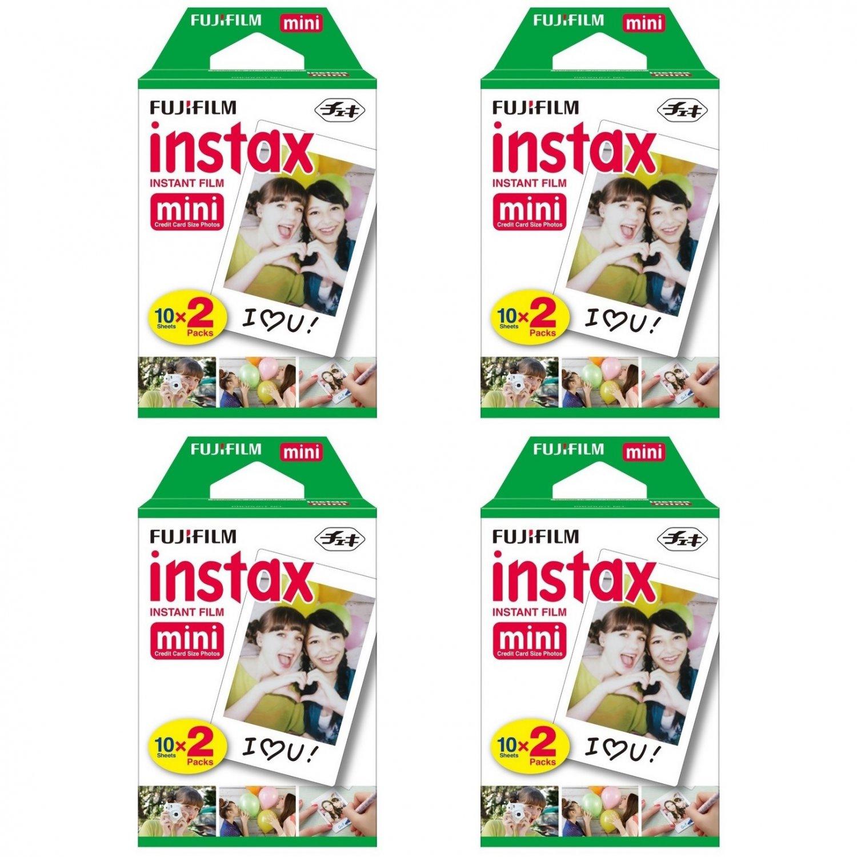 4 Packs FujiFilm Fuji Instax Mini Film, 80 Instant Photos Polaroid 7S 8 25 50S 70 X122