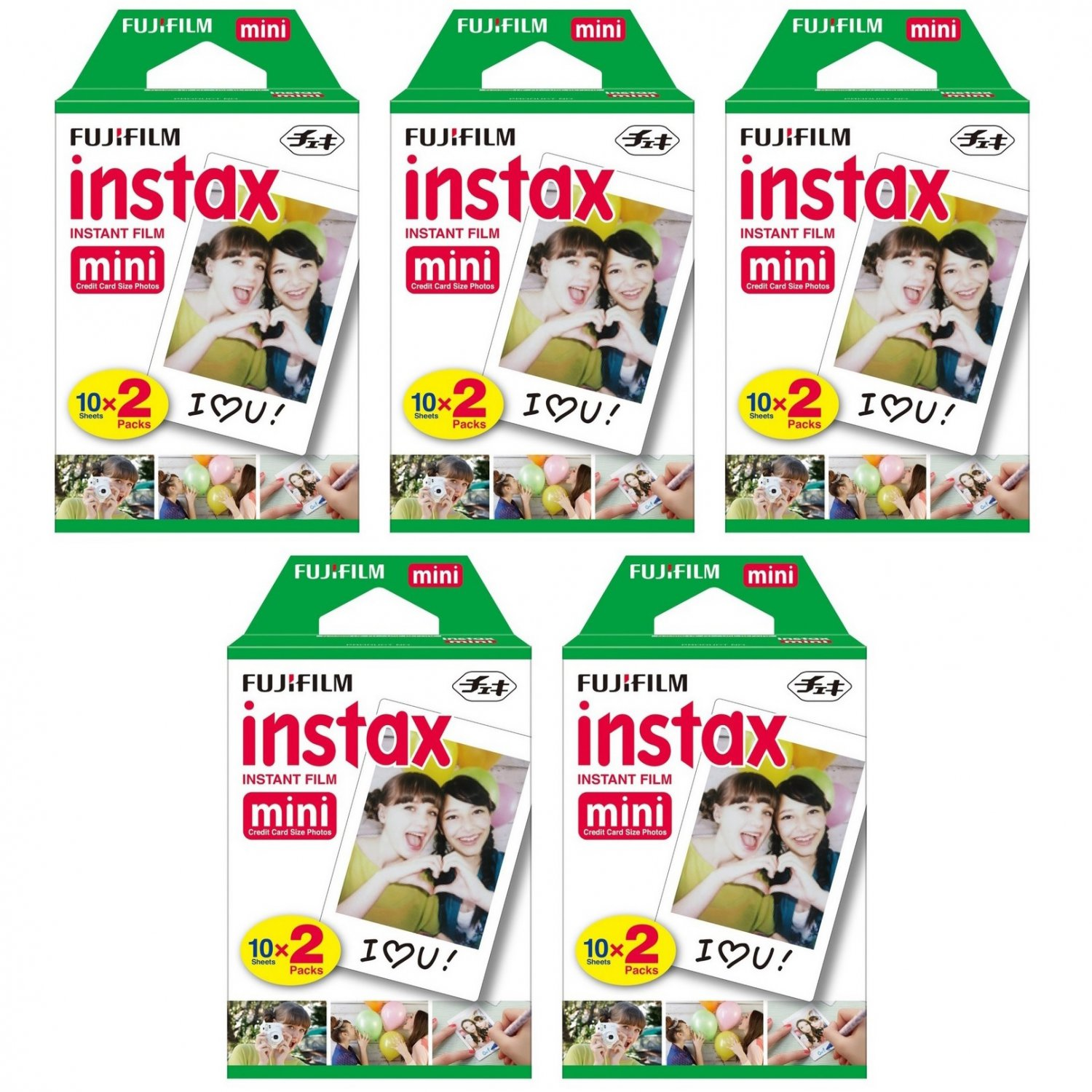 5 Packs FujiFilm Fuji Instax Mini Film, 100 Instant Photos Polaroid 7S 8 25 50S 70 X122