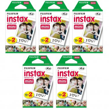 5 Packs FujiFilm Fuji Instax Mini Film, 100 Instant Photos Polaroid 7S 8 25 50S 70 X122