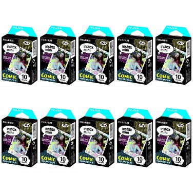 10 Packs Comic FujiFilm Fuji Instax Mini Film, 100 Photos Polaroid 7S 8 70 X237