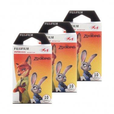 3 Packs Disney ZOOTOPIA (2nd Edition) FujiFilm Fuji Instax Mini Film, 30 Polaroid 7S 8 25 50 70 X348