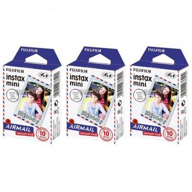 3 Packs Airmail FujiFilm Fuji Instax Mini Film, 30 Photos Polaroid 7S 8 70 X282