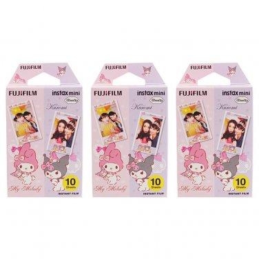3 Packs My Melody and Kuromi FujiFilm Fuji Instax Mini Film, 30 Photos Polaroid 7S 8 70 X291