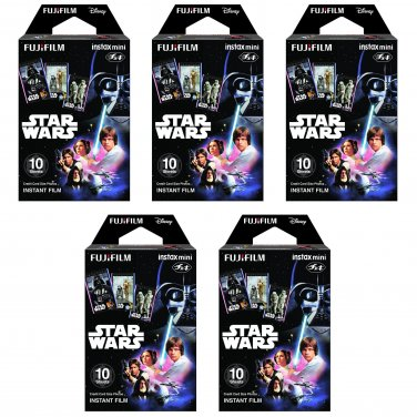 5 Packs Star Wars FujiFilm Fuji Instax Mini Film, 50 Photos Polaroid 7S 8 25 50S 70 X338