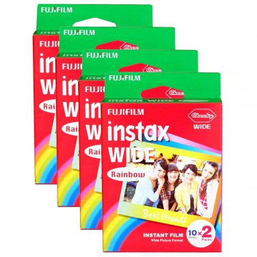 4 Packs 80 Rainbow Instant Photos Fuji FujiFilm Instax Wide Film Polaroid Camera 200 210 X353