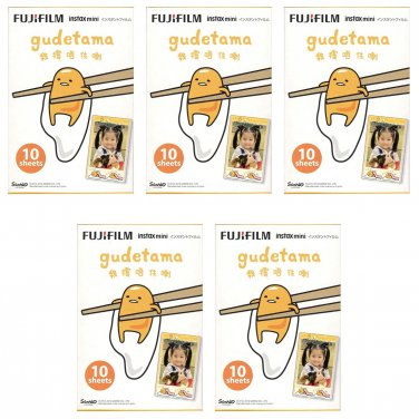5 Packs Sanrio Gudetama Egg FujiFilm Instax Mini, 50 Photos Polaroid 7S 8 25 50S 70 X351