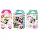 Candy Pop & Stained Glass & Stripe FujiFilm Instax Mini, 30 Photos Polaroid 7S 8 25 70 90