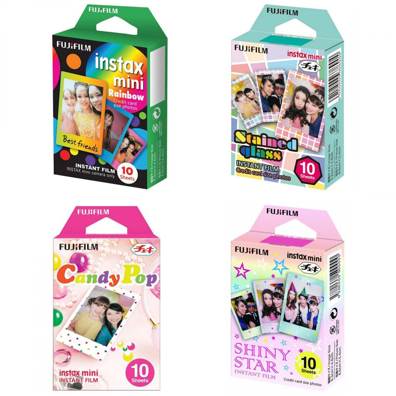 Rainbow Stained Glass Candy Pop Shiny Star FujiFilm Instax Mini, 40 Photos Polaroid 7S 8 25 70 90
