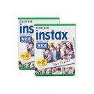 2 Packs 40 Instant Photos Fuji FujiFilm Instax Wide Film Polaroid Camera 200 210 X296