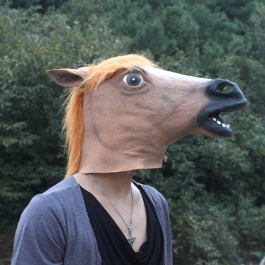 Brown Creepy Horse Head Face Animal Costume Halloween Party Props Carnival Mask