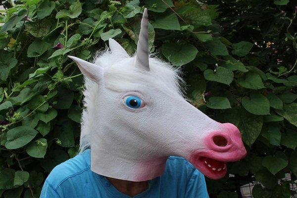 Creepy Unicorn Horse Head Face Animal Costume Halloween Party Prop Carnival Mask
