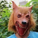 Brown Creepy Wolf Head Face Animal Costume Halloween Party Prop Carnival Mask