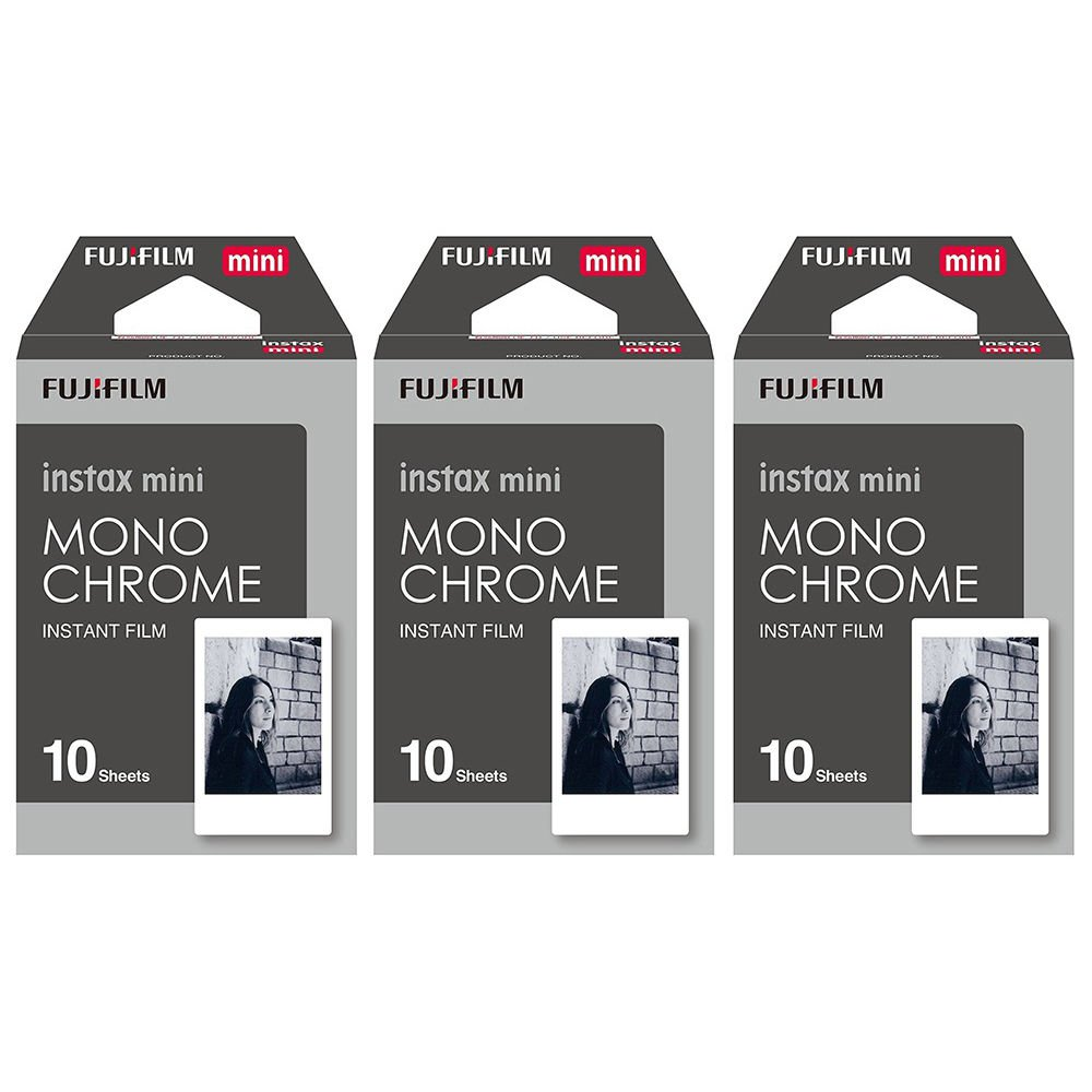 3 Packs 30 Photos Monochrome FujiFilm Fuji Instax Mini Film Polaroid 7S 8 SP-1 X390