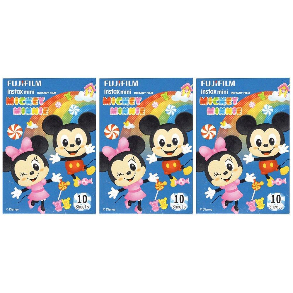 3 Packs 30 Photos Disney Mickey Minnie FujiFilm Fuji Instax Mini Film Polaroid X392