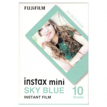 1 Pack 10 Photos Sky Blue Frame FujiFilm Fuji Instax Mini Film Polaroid 7S SP-1 X396