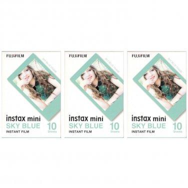 3 Packs 30 Photos Sky Blue Frame FujiFilm Fuji Instax Mini Film Polaroid 7S SP-1 X396