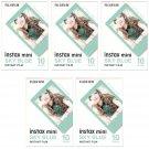 5 Packs 50 Photos Sky Blue Frame FujiFilm Fuji Instax Mini Film Polaroid 7S SP-1 X396