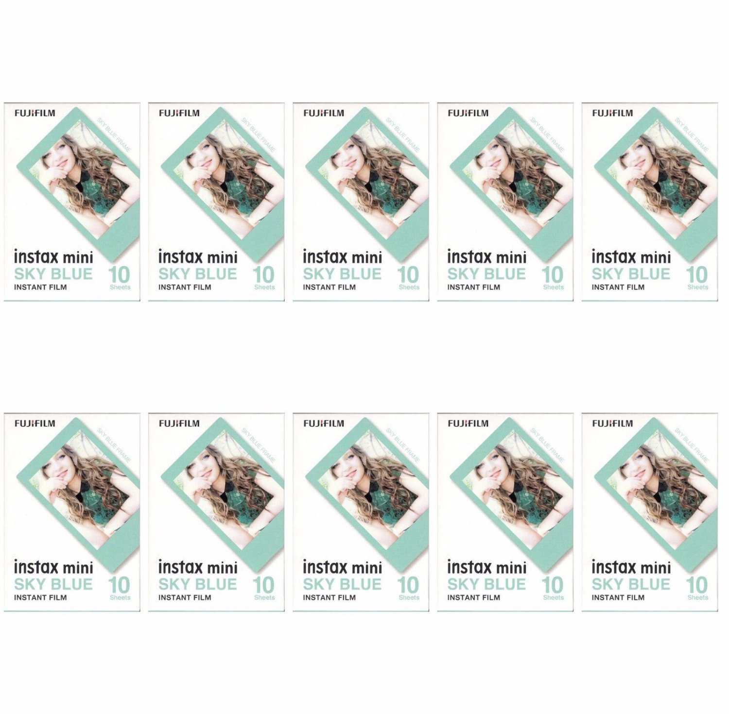 10 Packs 100 Photos Sky Blue Frame FujiFilm Fuji Instax Mini Film Polaroid 7S SP-1 X396