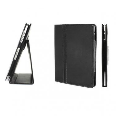 Black Colour Synthetic Leather Skin Case Cover Pouch Protector Kickstand For Apple iPad 1 1st