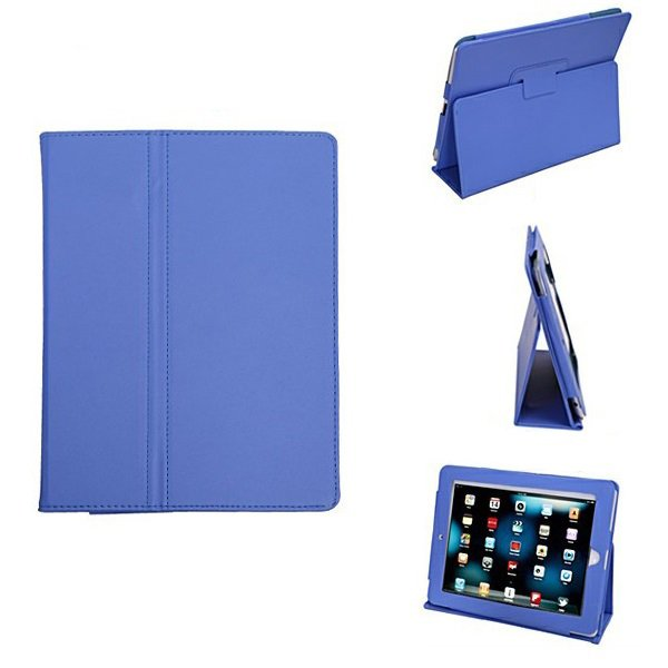 Blue Colour Synthetic Leather Skin Case Cover Pouch Protector Kickstand For Apple iPad 1 1st