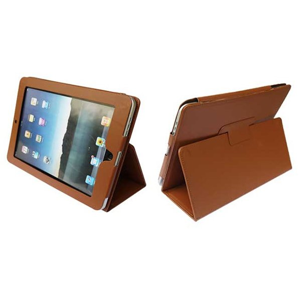Brown Colour Synthetic Leather Skin Case Cover Pouch Protector Kickstand For Apple iPad 1 1st