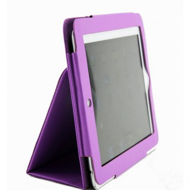 Purple Colour Synthetic Leather Skin Case Cover Pouch Protector Kickstand For Apple iPad 1 1st