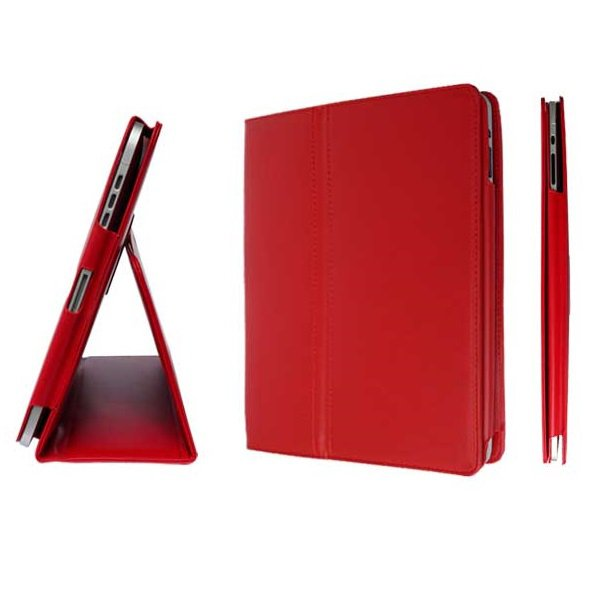 Red Colour Synthetic Leather Skin Case Cover Pouch Protector Kickstand For Apple iPad 1 1st