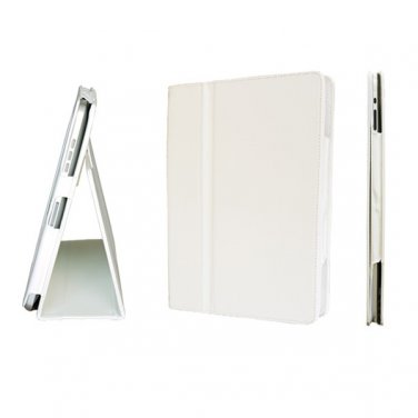 White Colour Synthetic Leather Skin Case Cover Pouch Protector Kickstand For Apple iPad 1 1st