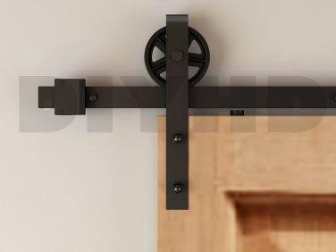 5.5ft Vintage Strap Industrial Wheel Sliding Barn Wood Door Hardware Track Kit