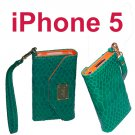 #744 Cover Case Hand Bag FOR Apple iPhone 5 Green
