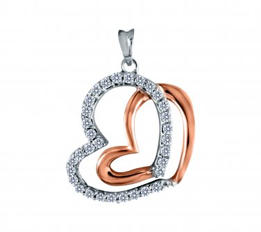 0.50 ct Round CZ Silver Two-Tone Heart 14k Rose Gold Plated Pendant Necklace Set (K1354-050W-CZ-SS)