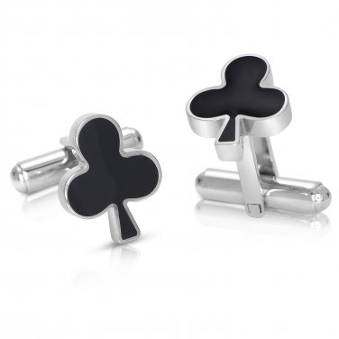 Poker Titanium Steel Silver Plated Clubs Mens Cufflinks +GIFT (POKERCUFFLINKS)